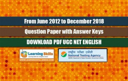 UGC NET English Previous Year Question Papers with Answer Keys from June 2012 to December 2018