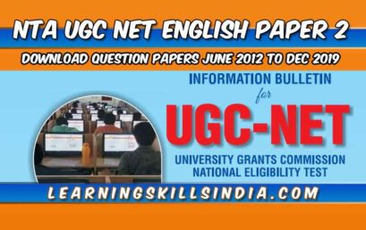 UGC NET English Previous Year Question Papers with Answer Keys from June 2012 to December 2019