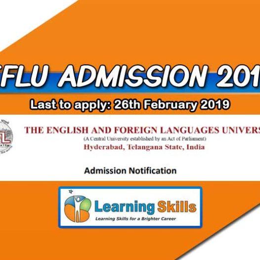 EFLU Entrance Exam 2019 Notification – Eligibility, Important Dates, Syllabus & More