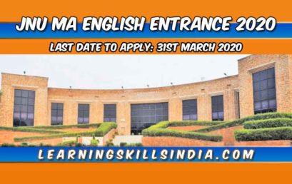 JNU MA English Entrance 2020 – Important Info & Application Process
